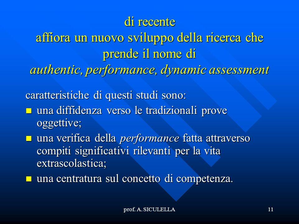 prof. A. SICULELLA11 di recente affiora un nuovo sviluppo della ricerca che prende il nome di authentic, performance, dynamic assessment caratteristic