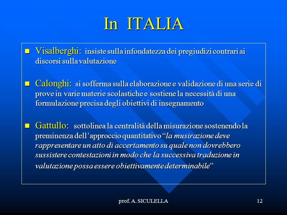 prof. A. SICULELLA12 In ITALIA Visalberghi: Visalberghi: insiste sulla infondatezza dei pregiudizi contrari ai discorsi sulla valutazione Calonghi: Ca