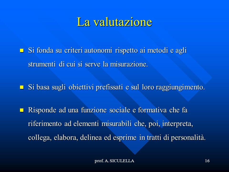 prof. A. SICULELLA16 La valutazione Si Si fonda su criteri autonomi rispetto ai metodi e agli strumenti di cui si serve la misurazione. basa sugli obi