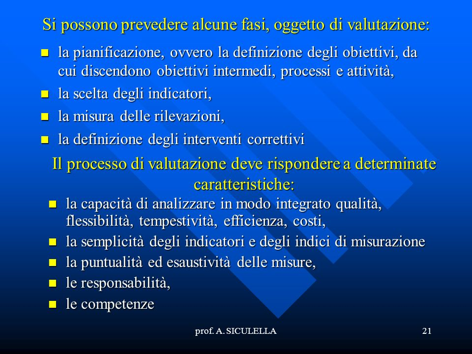 prof. A. SICULELLA21 Si possono prevedere alcune fasi, oggetto di valutazione: la la pianificazione, ovvero la definizione degli obiettivi, da cui dis