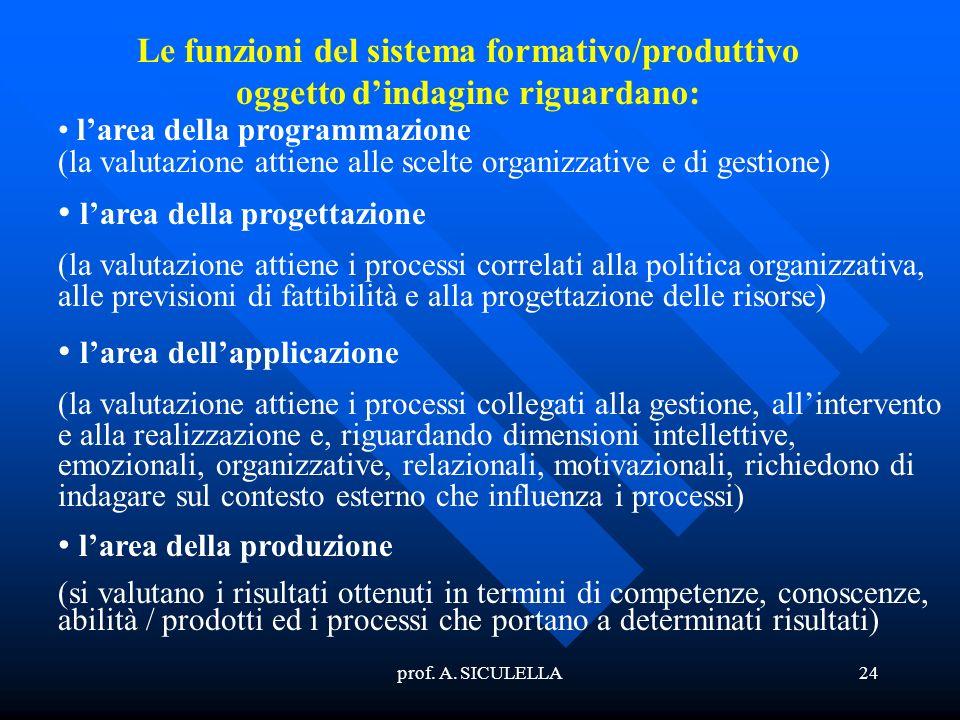 prof. A. SICULELLA24 Le funzioni del sistema formativo/produttivo oggetto dindagine riguardano: larea della programmazione (la valutazione attiene all