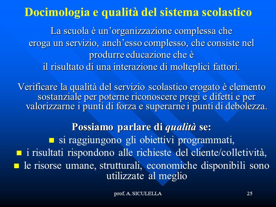prof. A. SICULELLA25 Docimologia e qualità del sistema scolastico La scuola è unorganizzazione complessa che eroga un servizio, anchesso complesso, ch