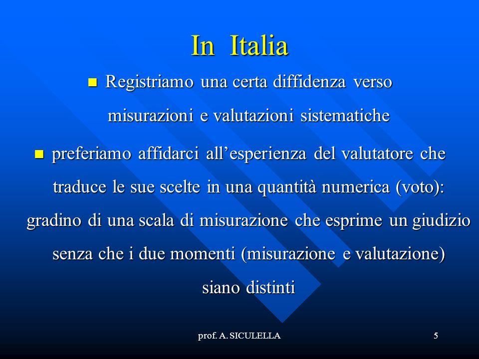 prof. A. SICULELLA5 In Italia Registriamo Registriamo una certa diffidenza verso misurazioni e valutazioni sistematiche preferiamo preferiamo affidarc