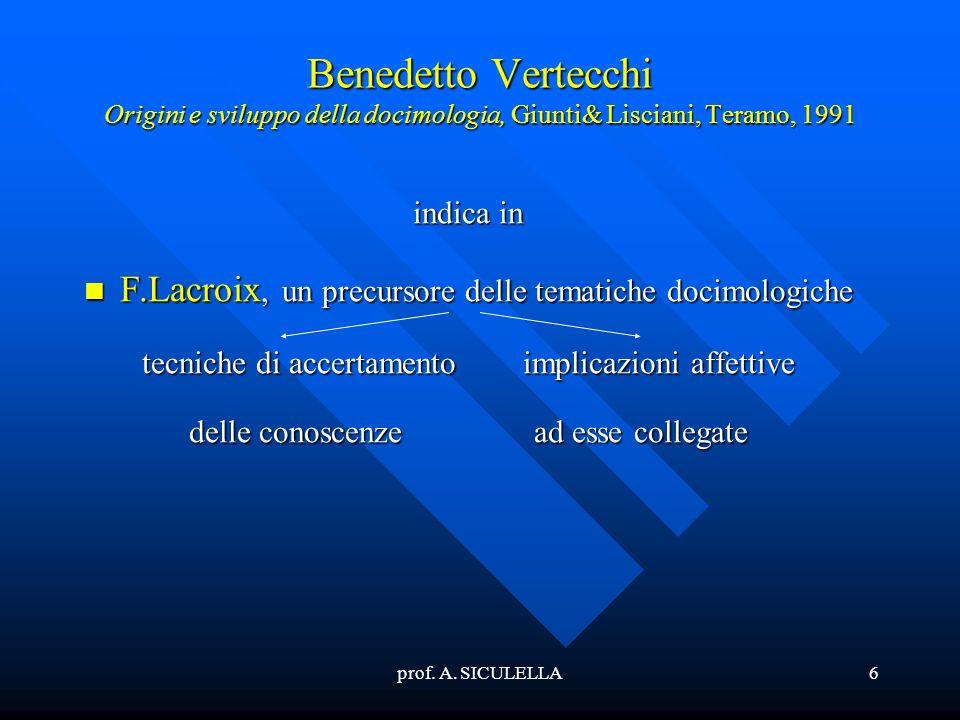 prof. A. SICULELLA6 Benedetto Vertecchi Origini e sviluppo della docimologia, Giunti& Lisciani, Teramo, 1991 indica in F.Lacroix, F.Lacroix, un precur
