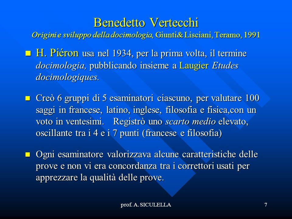 prof. A. SICULELLA7 Benedetto Vertecchi Origini e sviluppo della docimologia, Giunti& Lisciani, Teramo, 1991 H. H. Piéron usa nel 1934, per la prima v