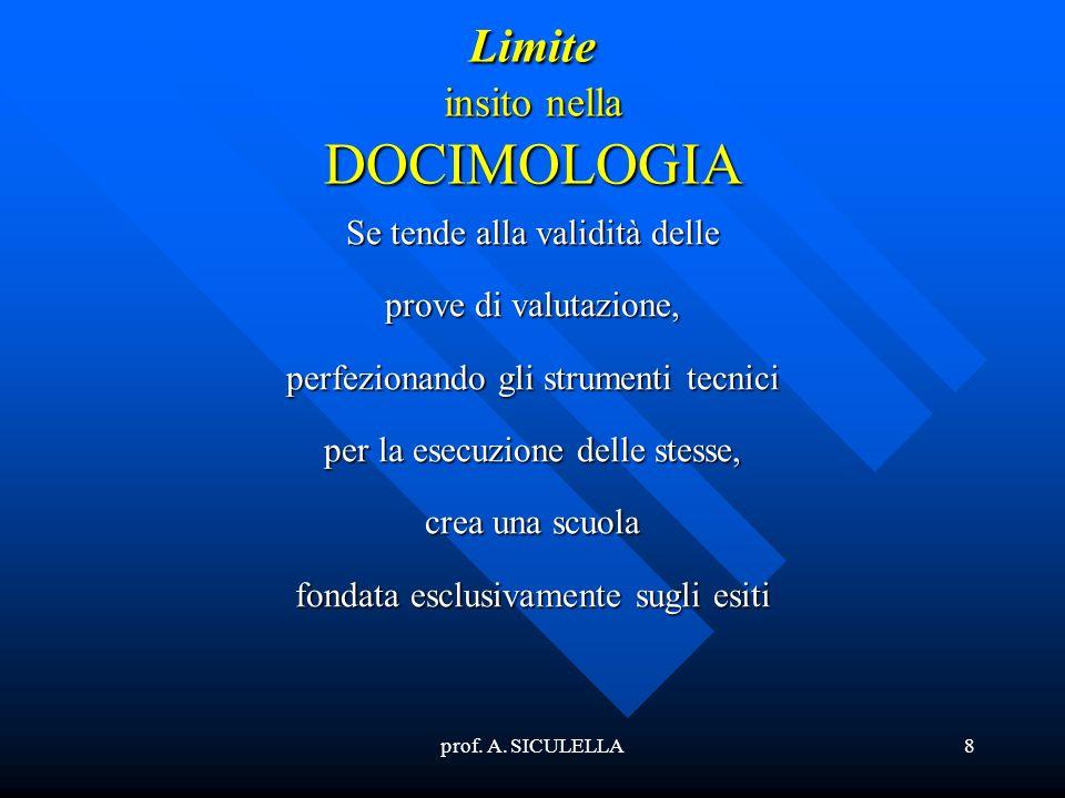 prof. A. SICULELLA8 Limite insito nella DOCIMOLOGIA Se tende alla validità delle prove di valutazione, perfezionando gli strumenti tecnici per la esec