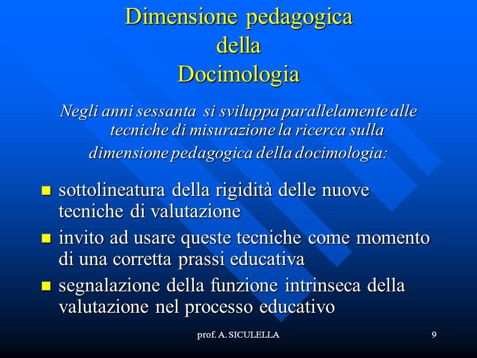 9 Dimensione pedagogica della Docimologia Negli anni sessanta si sviluppa parallelamente alle tecniche di misurazione la ricerca sulla dimensione peda