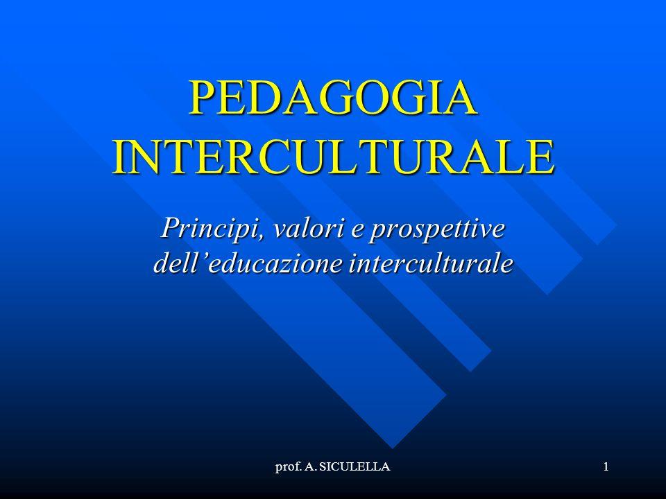 prof. A. SICULELLA1 PEDAGOGIA INTERCULTURALE Principi, valori e prospettive delleducazione interculturale