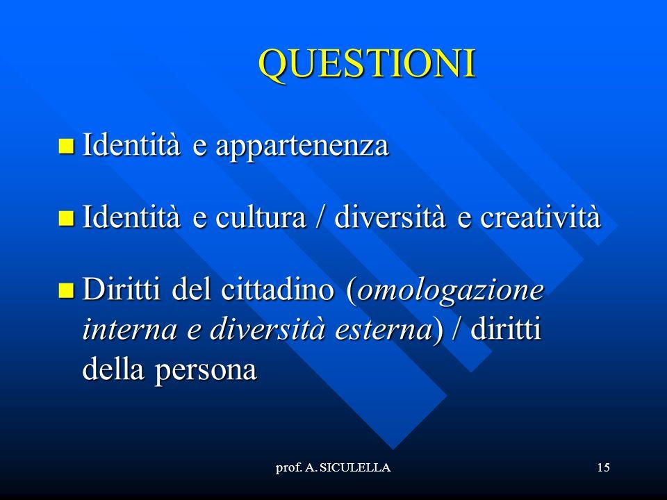 prof. A. SICULELLA15 QUESTIONI Identità Identità e appartenenza e cultura / diversità e creatività Diritti Diritti del cittadino (omologazione interna