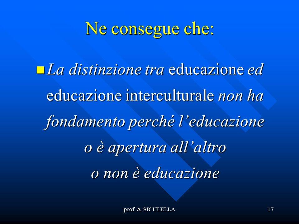 prof. A. SICULELLA17 Ne consegue che: La La distinzione tra educazione educazione ed interculturale interculturale non ha fondamento perché leducazion