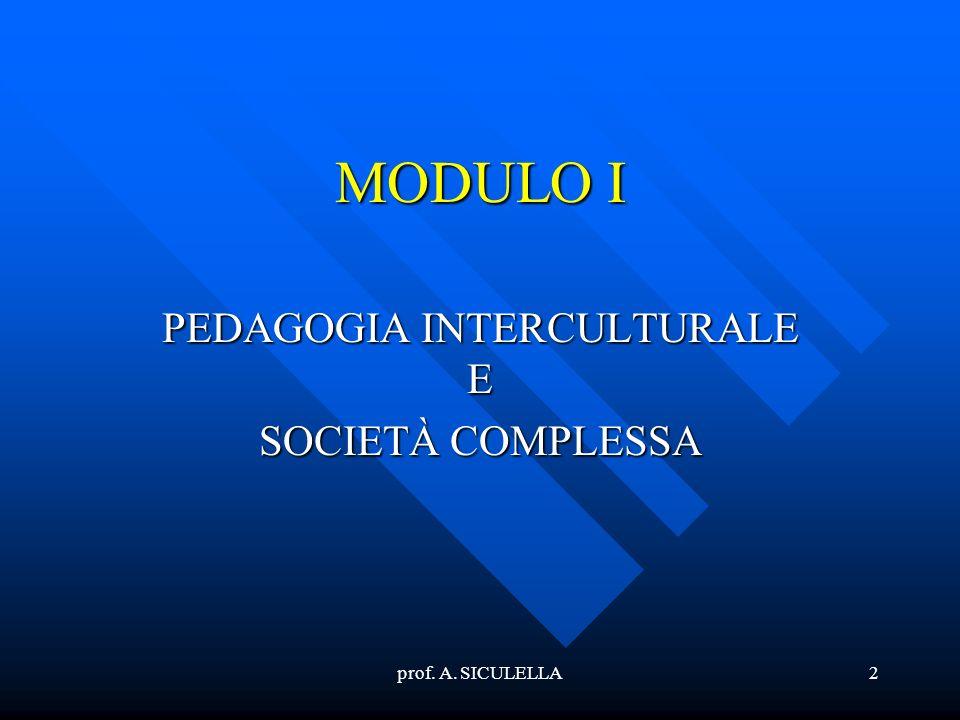 2 MODULO I PEDAGOGIA INTERCULTURALE E SOCIETÀ COMPLESSA