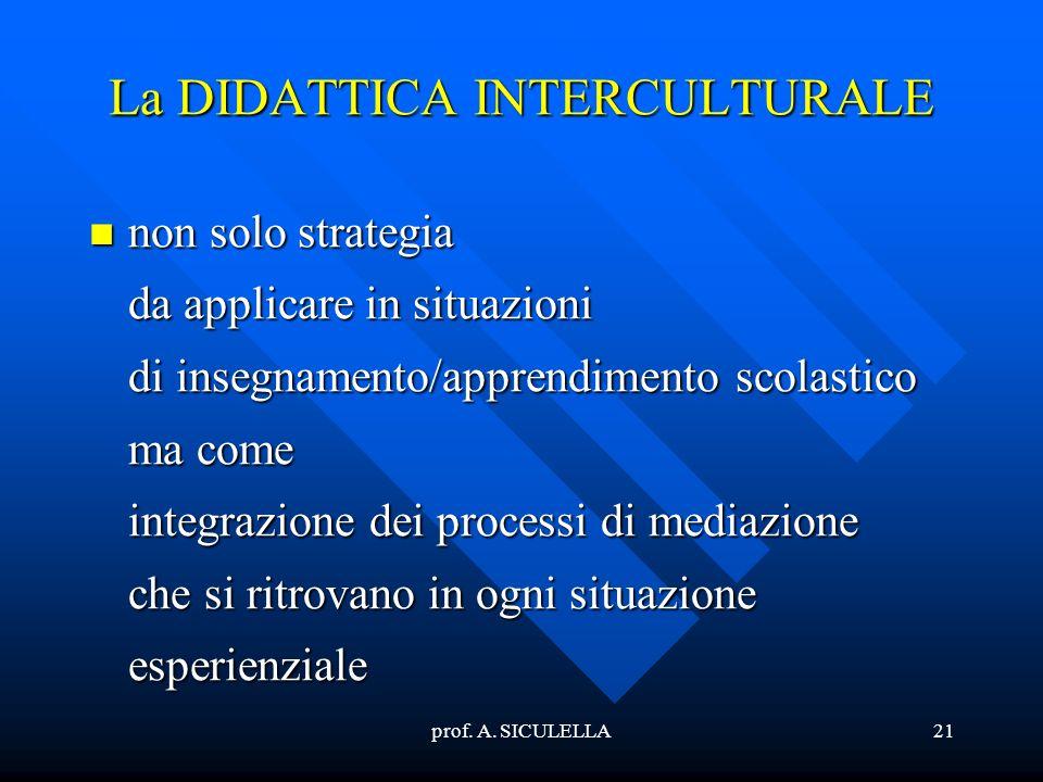prof. A. SICULELLA21 La DIDATTICA INTERCULTURALE non non solo strategia da applicare in situazioni di insegnamento/apprendimento scolastico ma come in