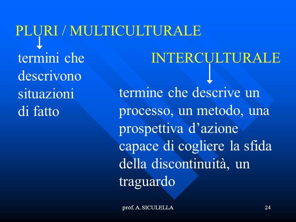 prof. A. SICULELLA24 PLURI / MULTICULTURALE INTERCULTURALEtermini che descrivono situazioni di fatto termine che descrive un processo, un metodo, una