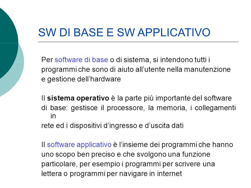 Per software di base o di sistema, si intendono tutti i programmi che sono di aiuto allutente nella manutenzione e gestione dellhardware Il sistema op