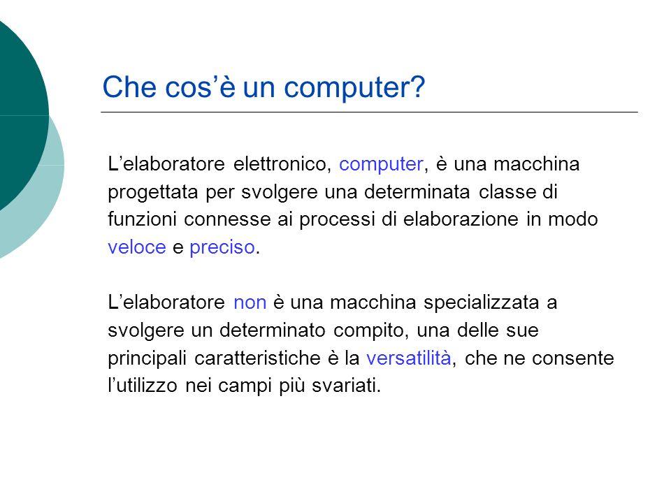 Lelaboratore elettronico, computer, è una macchina progettata per svolgere una determinata classe di funzioni connesse ai processi di elaborazione in modo veloce e preciso.