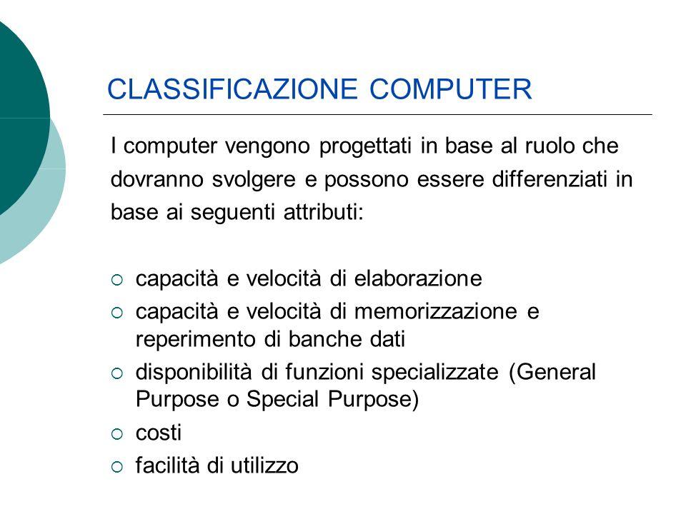 I computer vengono progettati in base al ruolo che dovranno svolgere e possono essere differenziati in base ai seguenti attributi: capacità e velocità