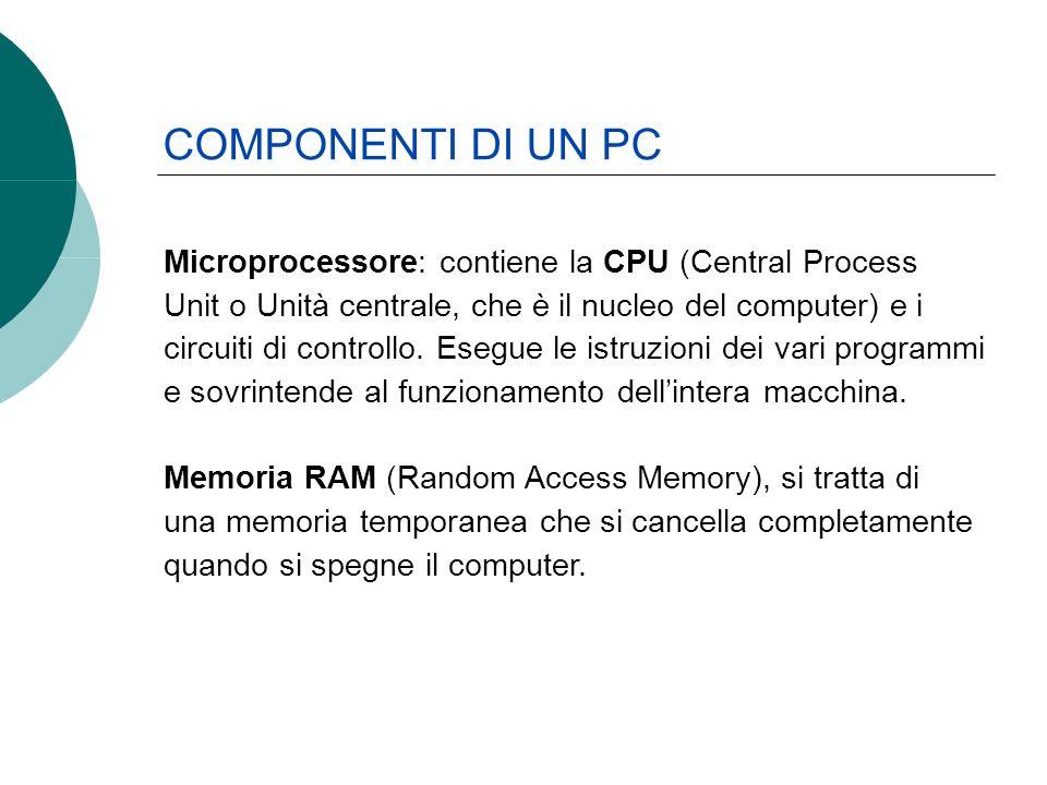 Microprocessore: contiene la CPU (Central Process Unit o Unità centrale, che è il nucleo del computer) e i circuiti di controllo. Esegue le istruzioni