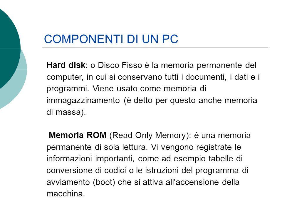 Hard disk: o Disco Fisso è la memoria permanente del computer, in cui si conservano tutti i documenti, i dati e i programmi. Viene usato come memoria