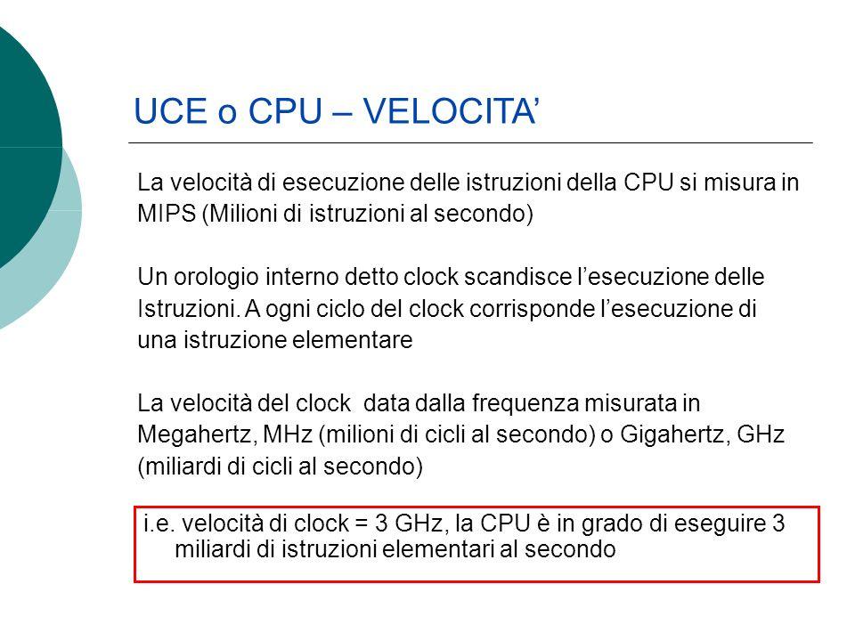 UCE o CPU – VELOCITA La velocità di esecuzione delle istruzioni della CPU si misura in MIPS (Milioni di istruzioni al secondo) Un orologio interno detto clock scandisce lesecuzione delle Istruzioni.