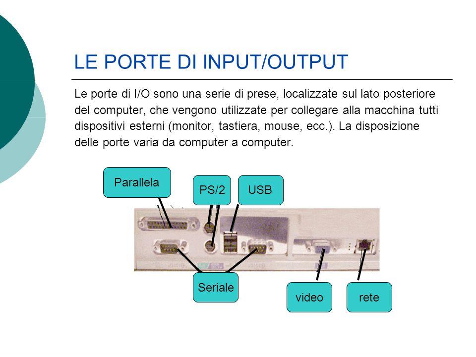 LE PORTE DI INPUT/OUTPUT Le porte di I/O sono una serie di prese, localizzate sul lato posteriore del computer, che vengono utilizzate per collegare alla macchina tutti dispositivi esterni (monitor, tastiera, mouse, ecc.).