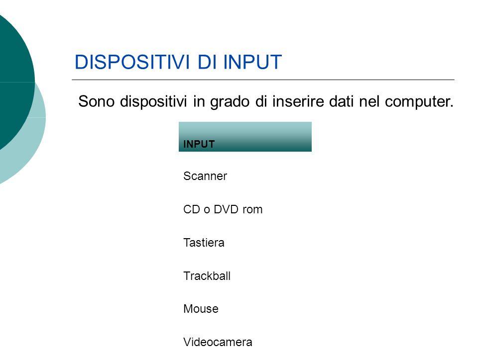 DISPOSITIVI DI INPUT INPUT Scanner CD o DVD rom Tastiera Trackball Mouse Videocamera Tavola grafica Sono dispositivi in grado di inserire dati nel computer.