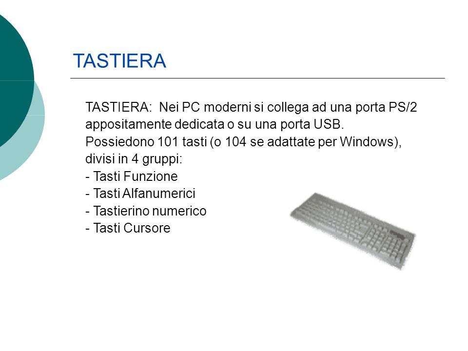 TASTIERA: Nei PC moderni si collega ad una porta PS/2 appositamente dedicata o su una porta USB. Possiedono 101 tasti (o 104 se adattate per Windows),