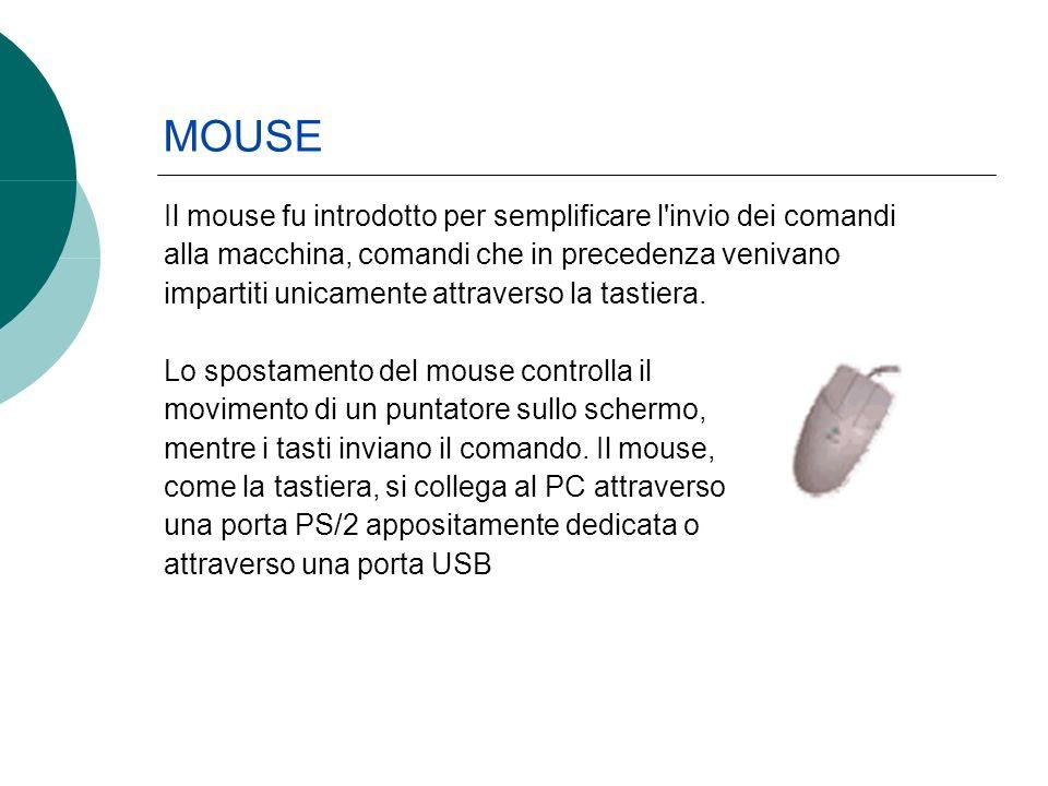 Il mouse fu introdotto per semplificare l invio dei comandi alla macchina, comandi che in precedenza venivano impartiti unicamente attraverso la tastiera.