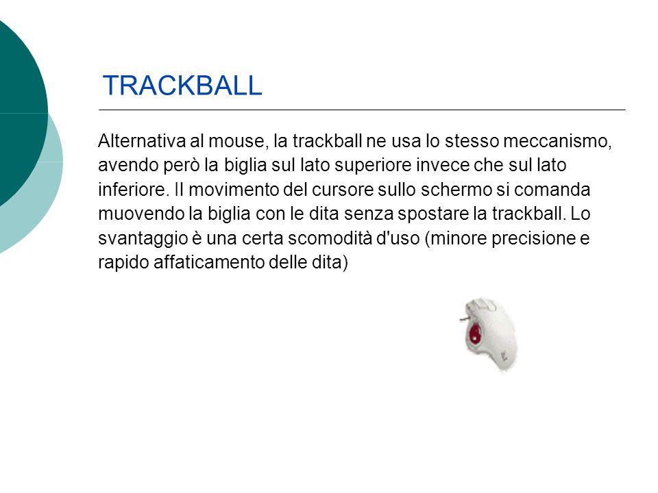Alternativa al mouse, la trackball ne usa lo stesso meccanismo, avendo però la biglia sul lato superiore invece che sul lato inferiore. Il movimento d