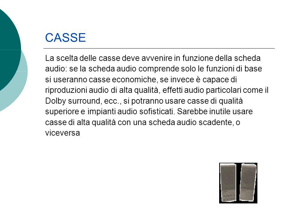 La scelta delle casse deve avvenire in funzione della scheda audio: se la scheda audio comprende solo le funzioni di base si useranno casse economiche