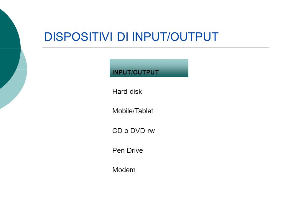 INPUT/OUTPUT Hard disk Mobile/Tablet CD o DVD rw Pen Drive Modem DISPOSITIVI DI INPUT/OUTPUT