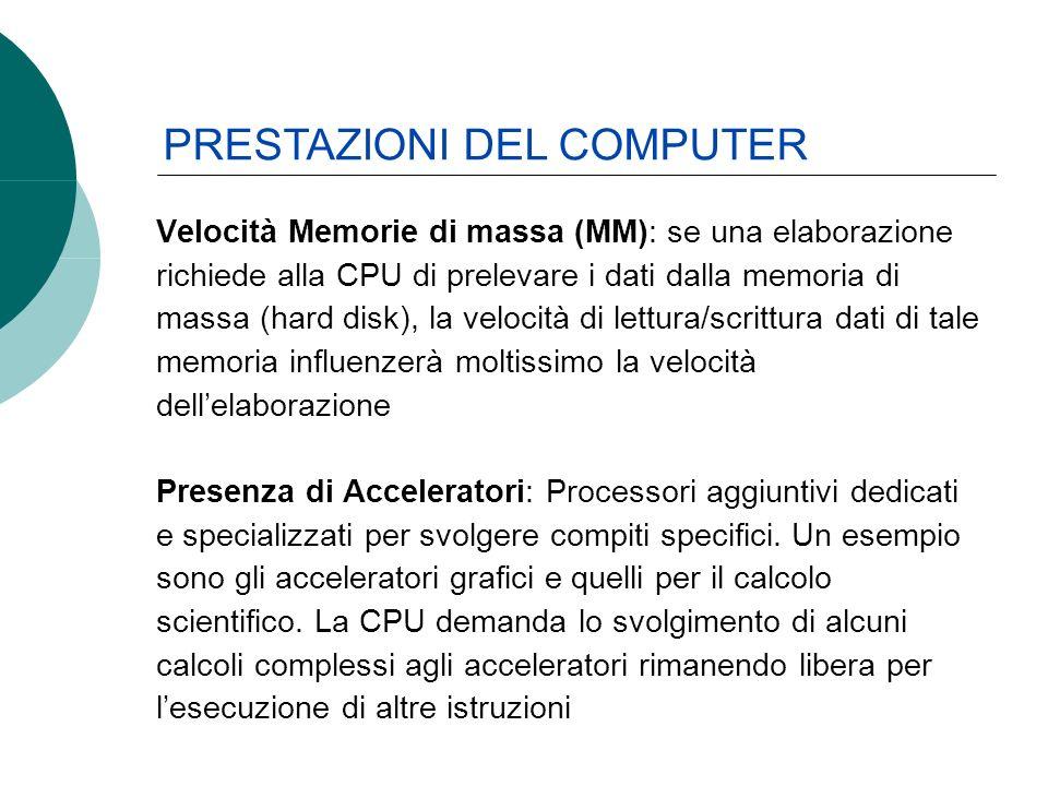 Velocità Memorie di massa (MM): se una elaborazione richiede alla CPU di prelevare i dati dalla memoria di massa (hard disk), la velocità di lettura/s