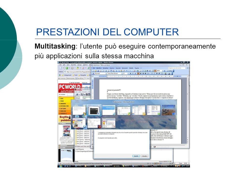 Multitasking: lutente può eseguire contemporaneamente più applicazioni sulla stessa macchina PRESTAZIONI DEL COMPUTER