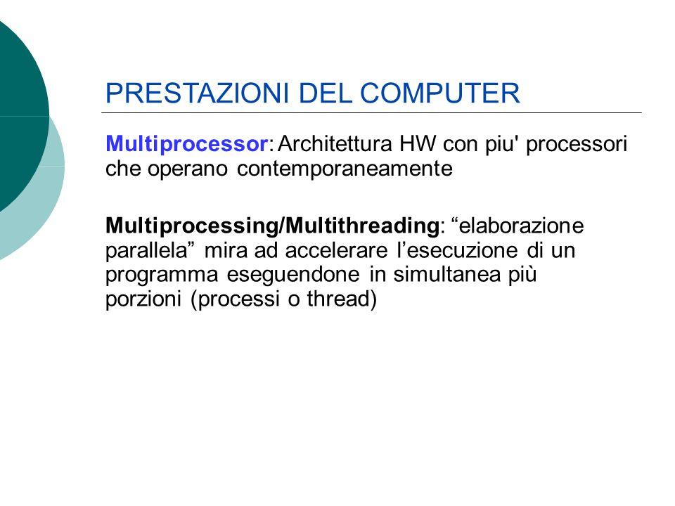 Multiprocessing/Multithreading: elaborazione parallela mira ad accelerare lesecuzione di un programma eseguendone in simultanea più porzioni (processi