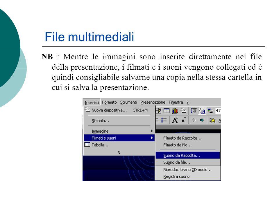 File multimediali NB : Mentre le immagini sono inserite direttamente nel file della presentazione, i filmati e i suoni vengono collegati ed è quindi c