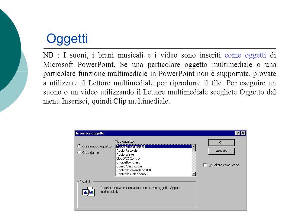 Oggetti NB : I suoni, i brani musicali e i video sono inseriti come oggetti di Microsoft PowerPoint. Se una particolare oggetto multimediale o una par