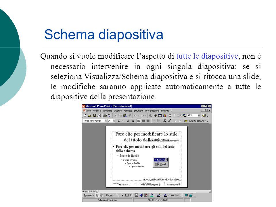 Schema diapositiva Quando si vuole modificare laspetto di tutte le diapositive, non è necessario intervenire in ogni singola diapositiva: se si selezi