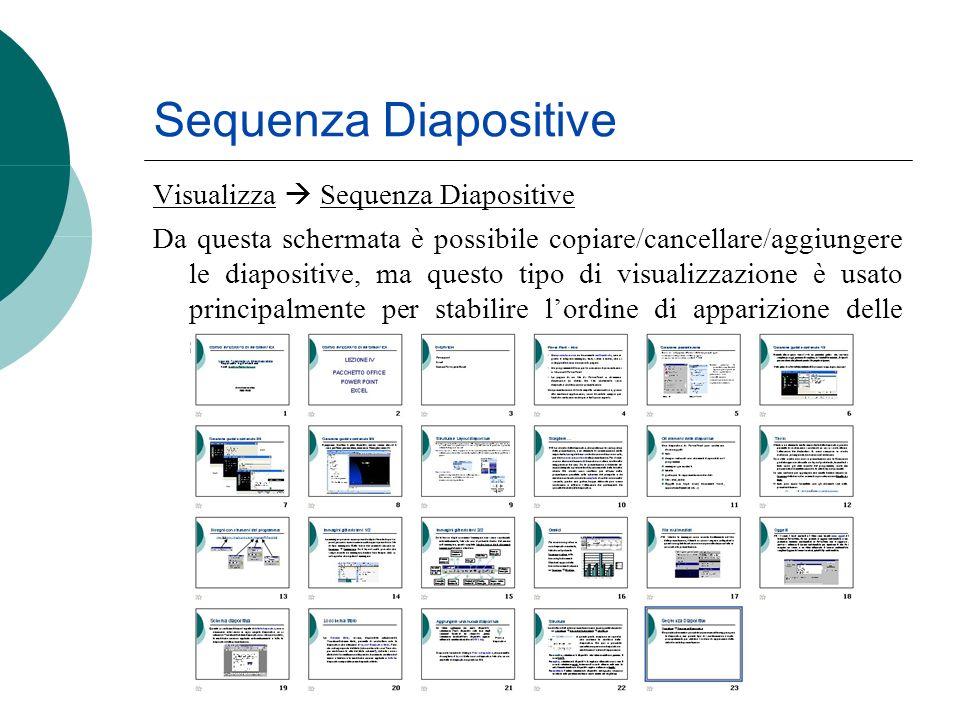 Sequenza Diapositive Visualizza Sequenza Diapositive Da questa schermata è possibile copiare/cancellare/aggiungere le diapositive, ma questo tipo di v