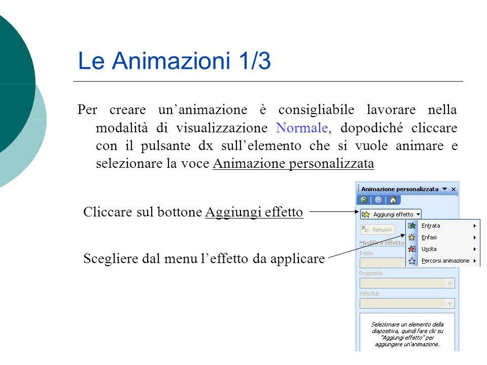 Le Animazioni 1/3 Per creare unanimazione è consigliabile lavorare nella modalità di visualizzazione Normale, dopodiché cliccare con il pulsante dx su