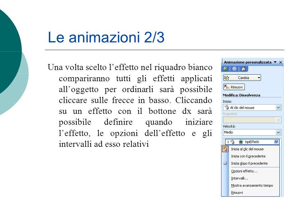 Le animazioni 2/3 Una volta scelto leffetto nel riquadro bianco compariranno tutti gli effetti applicati alloggetto per ordinarli sarà possibile clicc