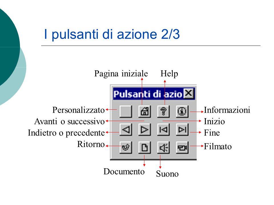 I pulsanti di azione 2/3 Personalizzato Avanti o successivo Indietro o precedente Ritorno Informazioni Inizio Fine Filmato Documento Suono Pagina iniz