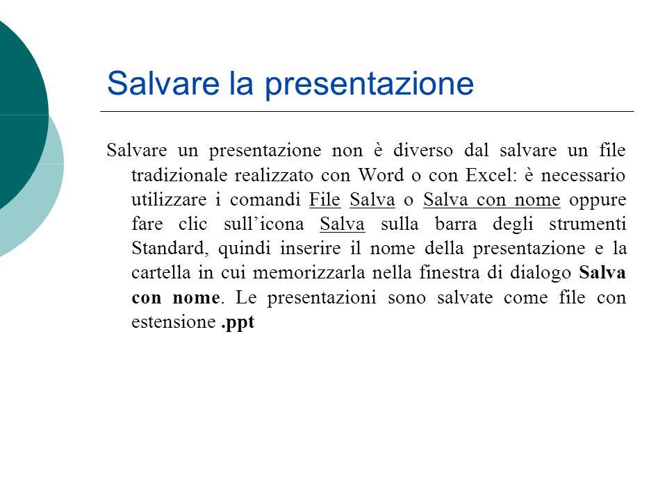Salvare la presentazione Salvare un presentazione non è diverso dal salvare un file tradizionale realizzato con Word o con Excel: è necessario utilizz