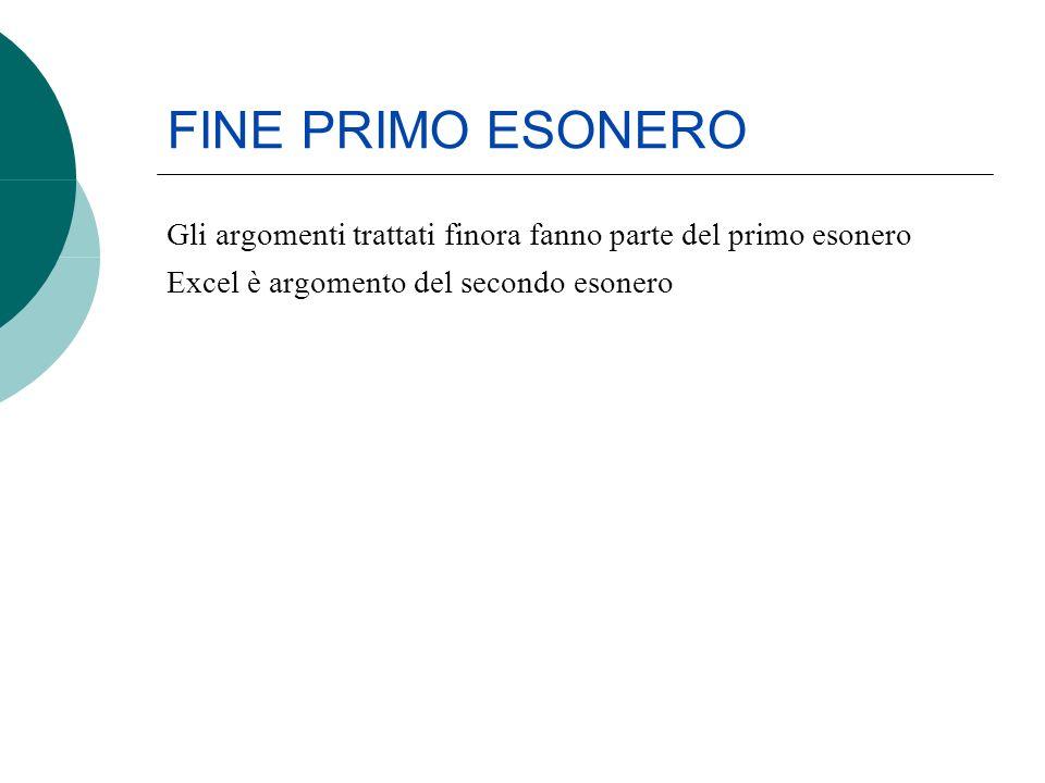 FINE PRIMO ESONERO Gli argomenti trattati finora fanno parte del primo esonero Excel è argomento del secondo esonero