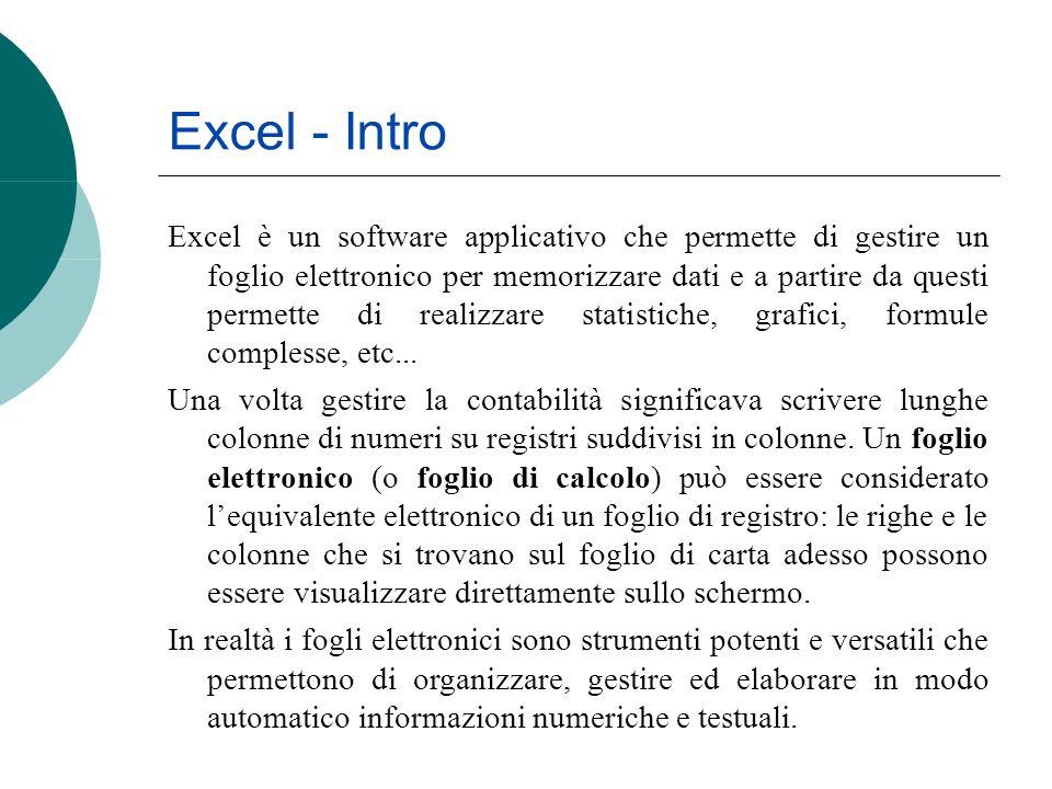 Excel - Intro Excel è un software applicativo che permette di gestire un foglio elettronico per memorizzare dati e a partire da questi permette di rea