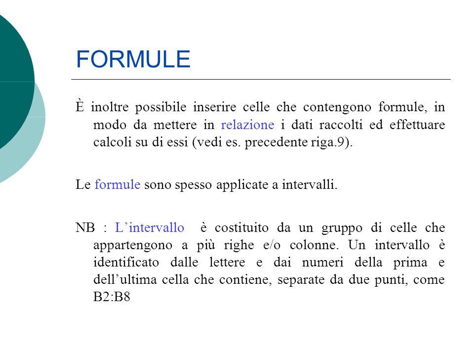 FORMULE È inoltre possibile inserire celle che contengono formule, in modo da mettere in relazione i dati raccolti ed effettuare calcoli su di essi (v