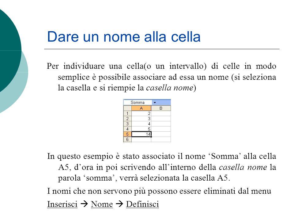 Dare un nome alla cella Per individuare una cella(o un intervallo) di celle in modo semplice è possibile associare ad essa un nome (si seleziona la ca