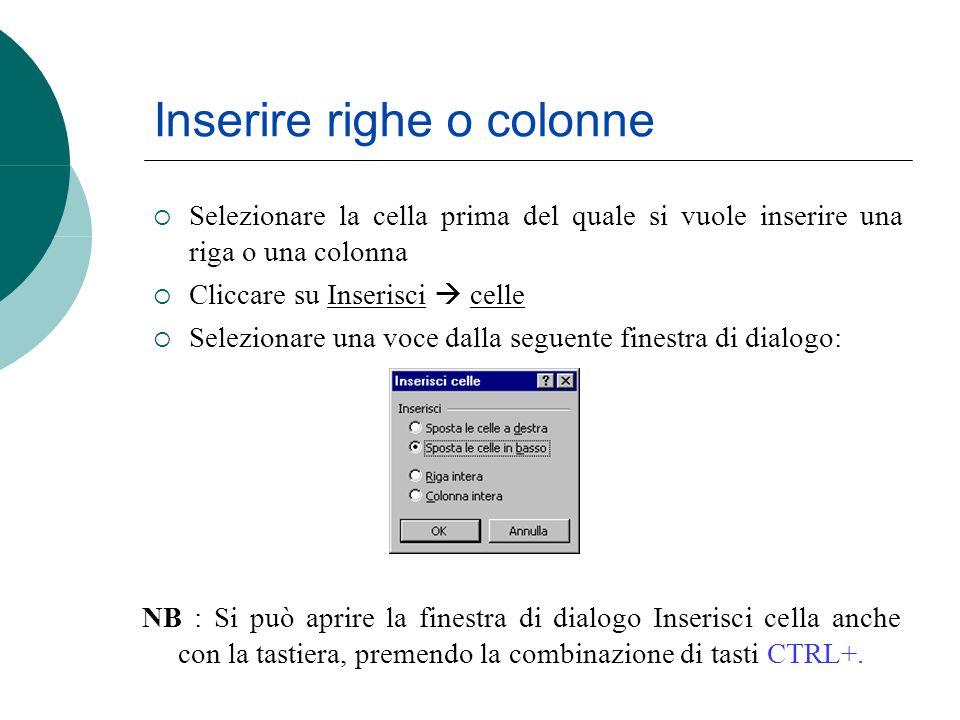 Inserire righe o colonne Selezionare la cella prima del quale si vuole inserire una riga o una colonna Cliccare su Inserisci celle Selezionare una voc