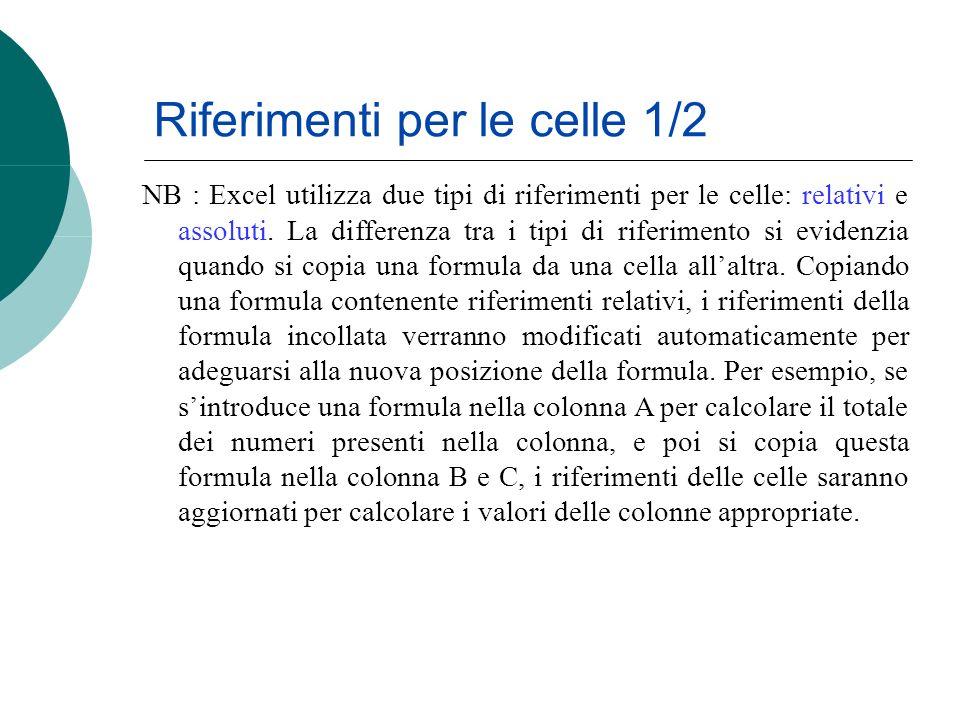 Riferimenti per le celle 1/2 NB : Excel utilizza due tipi di riferimenti per le celle: relativi e assoluti. La differenza tra i tipi di riferimento si
