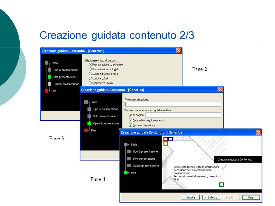 Il programma visualizza la prima diapositiva, con una struttura che sarà la stessa per lintera presentazione, come mostra limmagine successiva Creazione guidata contenuto 3/3