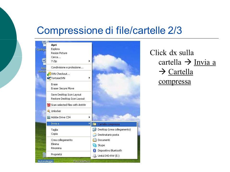 Compressione di file/cartelle 2/3 Click dx sulla cartella Invia a Cartella compressa