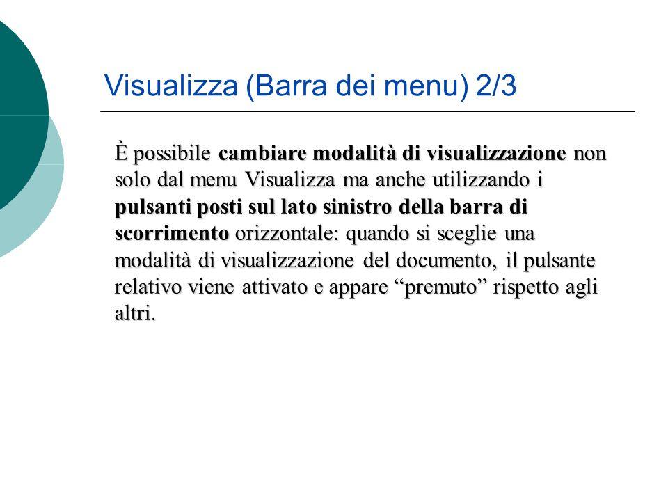 È possibile cambiare modalità di visualizzazione non solo dal menu Visualizza ma anche utilizzando i pulsanti posti sul lato sinistro della barra di scorrimento orizzontale: quando si sceglie una modalità di visualizzazione del documento, il pulsante relativo viene attivato e appare premuto rispetto agli altri.